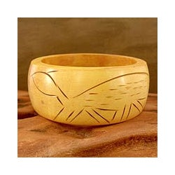 Handcrafted Haldu Wood 'Tribal Turtle' Bangle Bracelet (India)