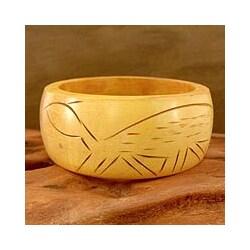 Handmade Haldu Wood 'Tribal Turtle' Bangle Bracelet (India)