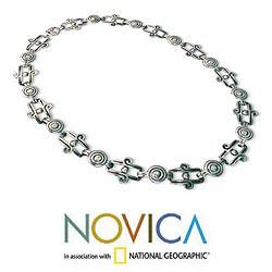 Sterling Silver 'Aztec Royalty' Chain Necklace (Mexico)