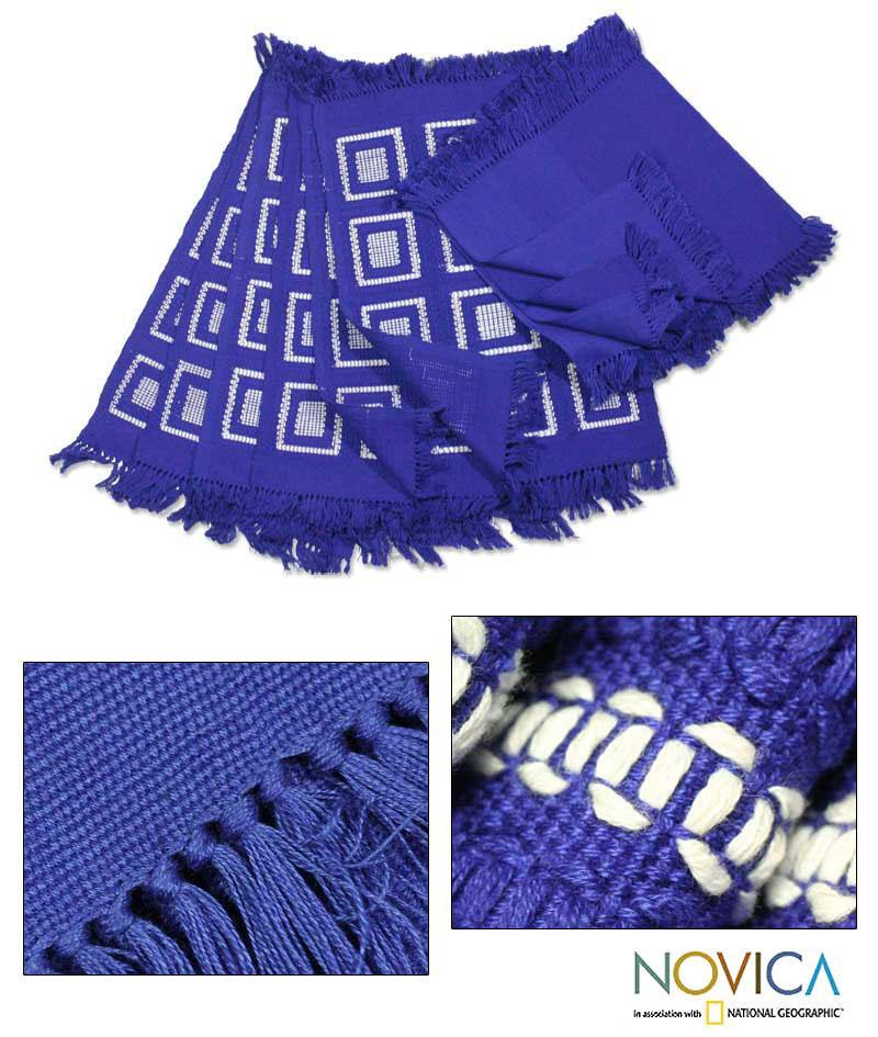 Handmade Cotton 'Antigua Blue' 12-piece Placemat and Napkin Set (Guatemala)