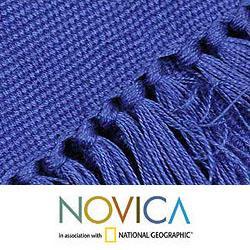 Handmade Cotton 'Antigua Blue' 12-piece Placemat and Napkin Set (Guatemala) - Thumbnail 1