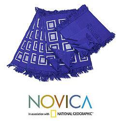 Handmade Cotton 'Antigua Blue' 12-piece Placemat and Napkin Set (Guatemala)