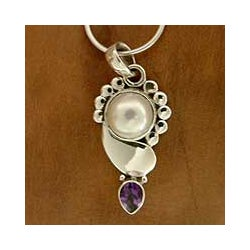 Sterling Silver 'Indian Glory' Amethyst Pearl Necklace (10 mm) (India)