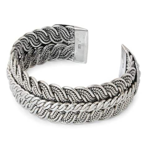 Handmade Sterling Silver 'Ebb and Flow' Cuff Bracelet (Thailand)