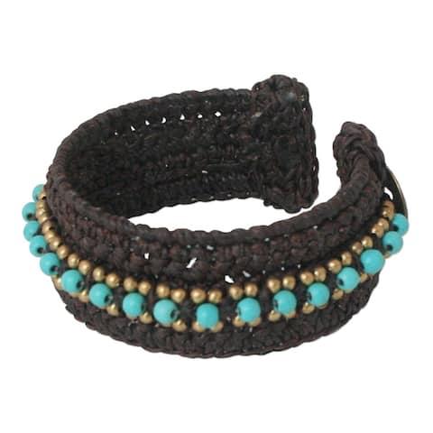 """Handmade Thai Supreme Brass Calcite Cuff Bracelet (Thailand) - 1.1"""" x 7"""""""