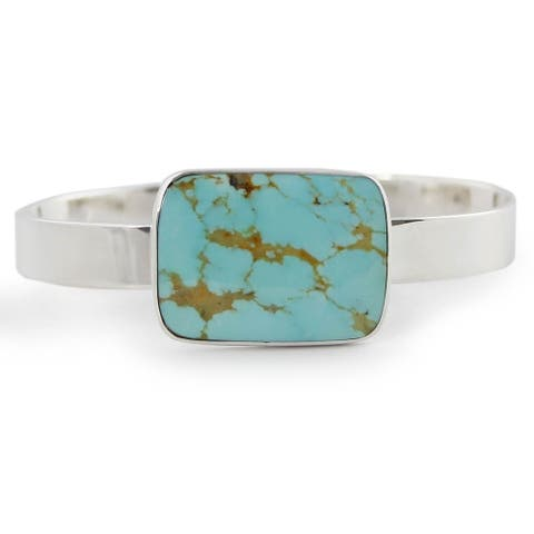 Handmade Caribbean Mosaic Sterling Silver Turquoise Cuff (Mexico)