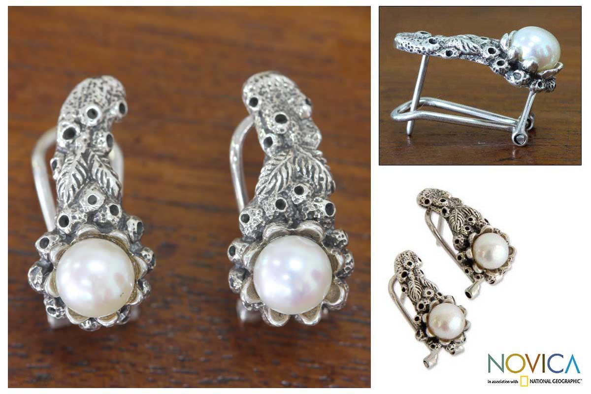 Handmade Sterling Silver 'Coral Reef' Pearl Earrings (6 mm) (Indonesia)