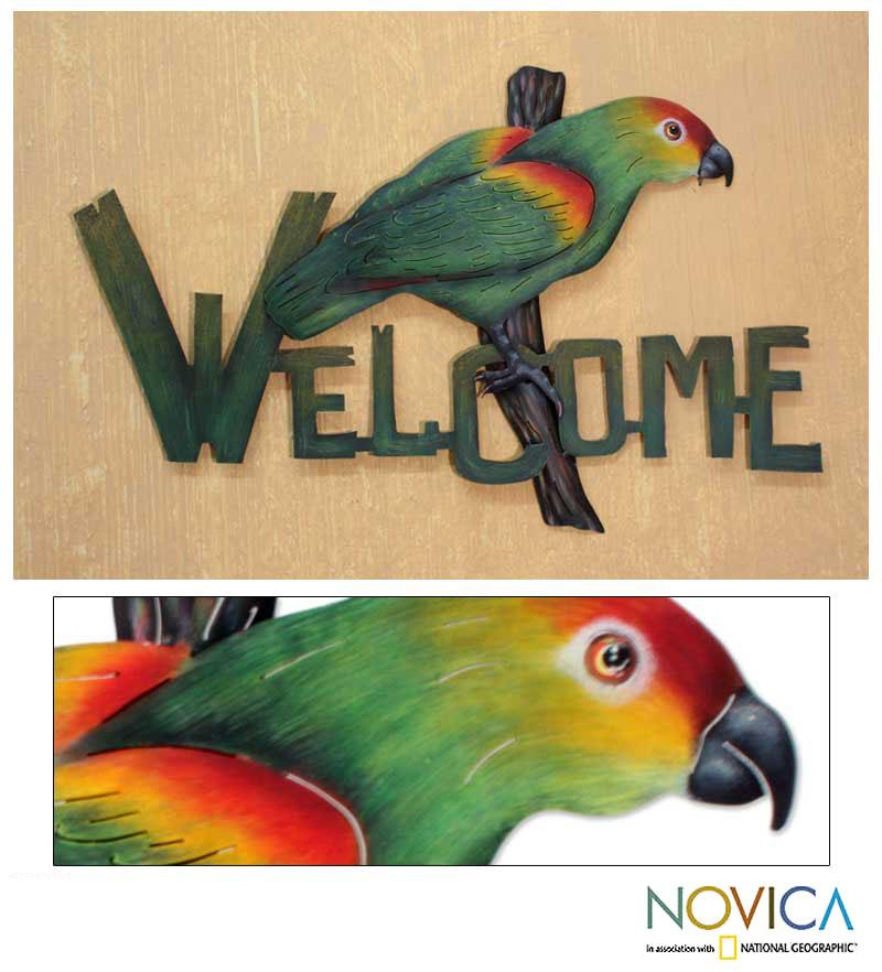 Handmade Steel 'Perky Parrot' Welcome Sign (Mexico)
