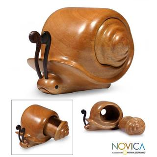 Handcrafted Mahogany Wood 'Snail Secrets' Puzzle Box  , Handmade in Guatemala