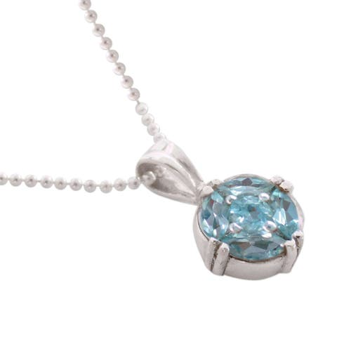 Handmade Jaipur Star Blue Topaz Sterling Silver Necklace (India) - 16