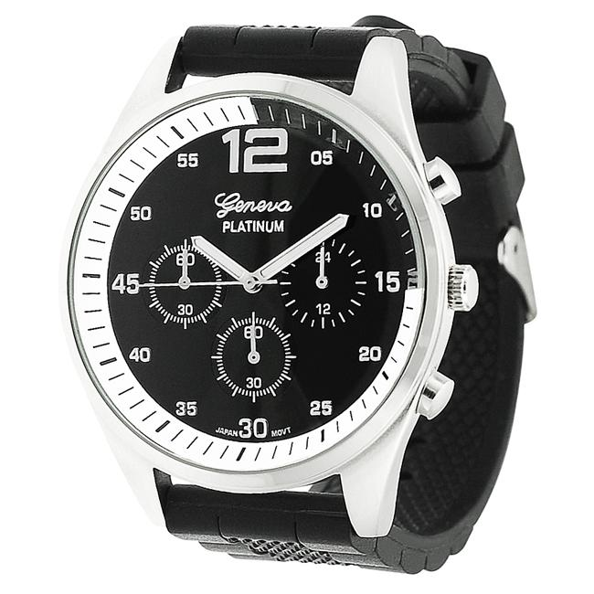 Geneva Platinum Men's Chronograph-Style Mineral Crystal Silicone Watch - Thumbnail 0