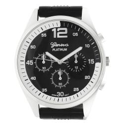 Geneva Platinum Men's Chronograph-Style Mineral Crystal Silicone Watch - Thumbnail 1