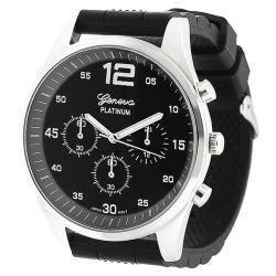 Geneva Platinum Men's Chronograph-Style Silicone Watch with Three Subdials|https://ak1.ostkcdn.com/images/products/6072290/76/442/Geneva-Platinum-Mens-Chronograph-Style-Silicone-Watch-with-Three-Subdials-P13745262.jpg?impolicy=medium