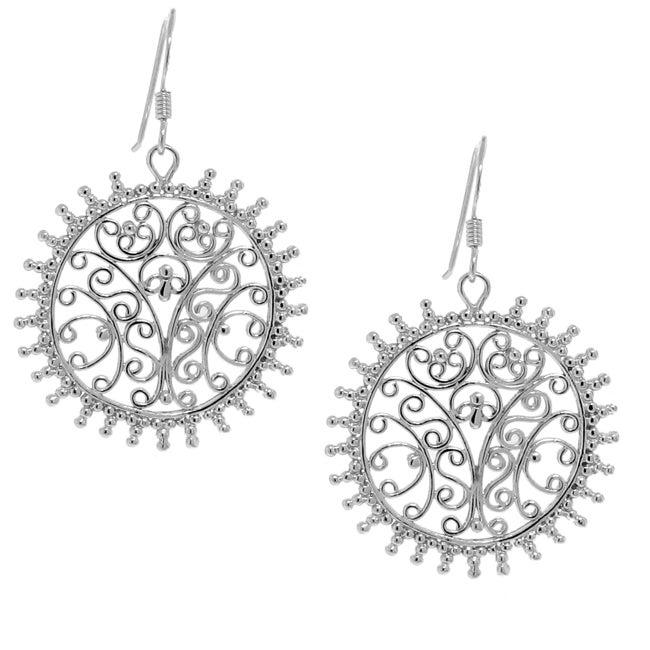 Sterling Silver Fancy Sun Earrings