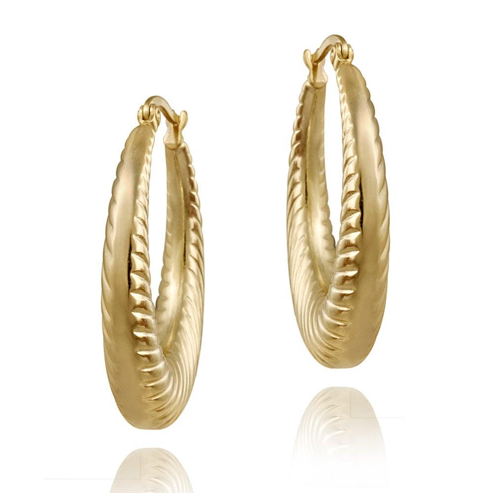 Shop Mondevio 18k Gold over Stainless Steel Rope Design Hoop ...