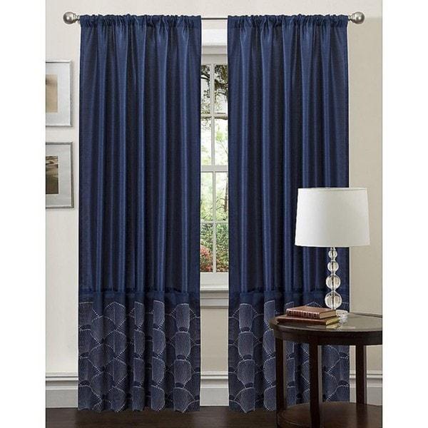 Lush Decor Navy 84 Inch Sapphire Curtain Panel Free
