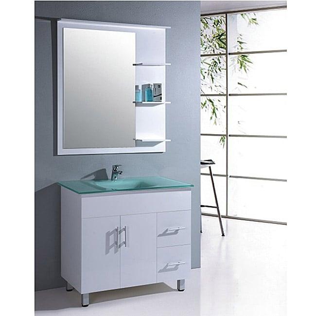 Tempered Glass 35.5-inch Single Sink Bathroom Vanity