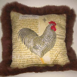 French Rooster Silk Decorative Pillow