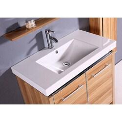 Resin 31.5-inch Light Maple Single Sink Bathroom Vanity - Thumbnail 1