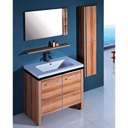 Resin 31.5-inch Light Maple Single Sink Bathroom Vanity - White