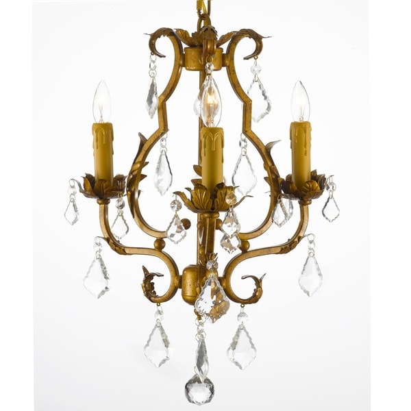 Gallery Wrought Iron Crystal Accented Mini-Chandelier