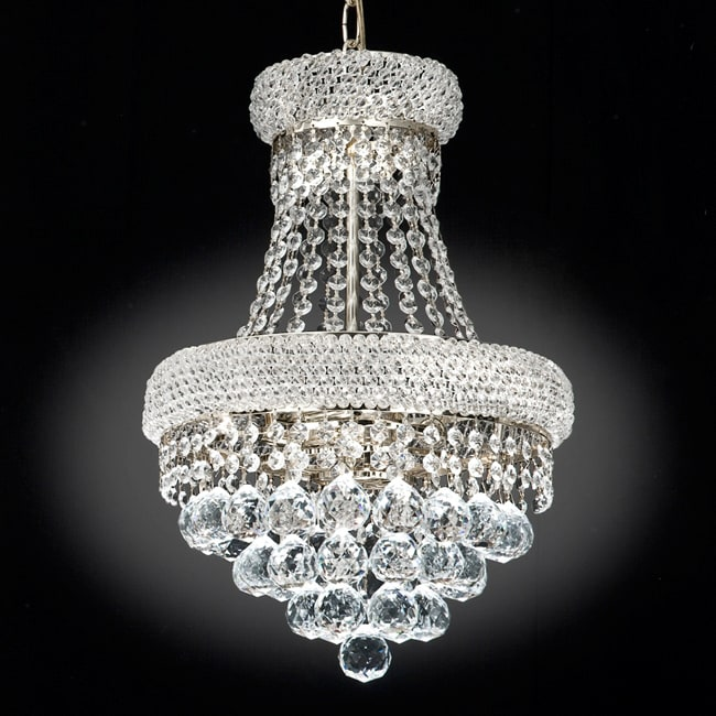 Gallery Empire Silvertone Crystal Three-Light Indoor Chandelier