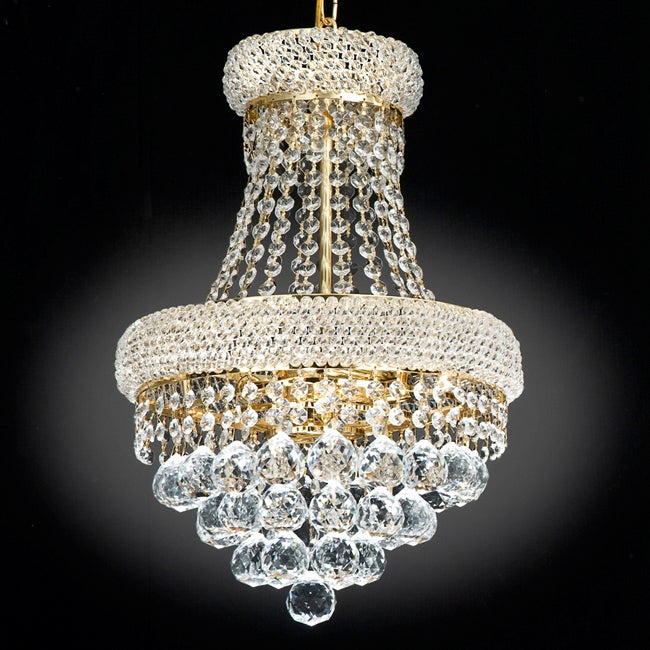 Gallery Empire Goldtone Crystal 3-Light Indoor Chandelier