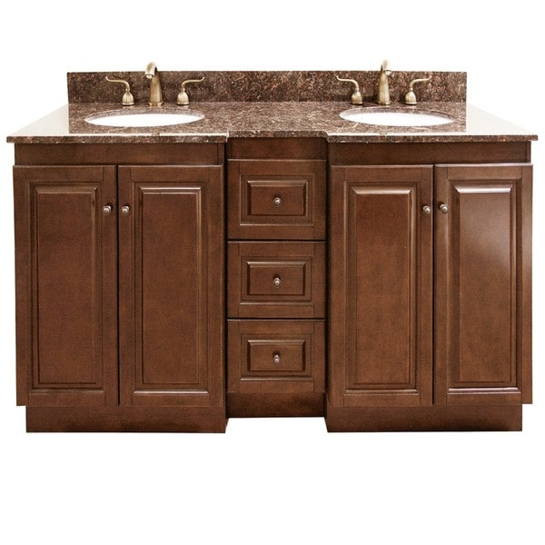 Granite Top 60-inch Double Sink Bathroom Vanity - Free Shipping ...