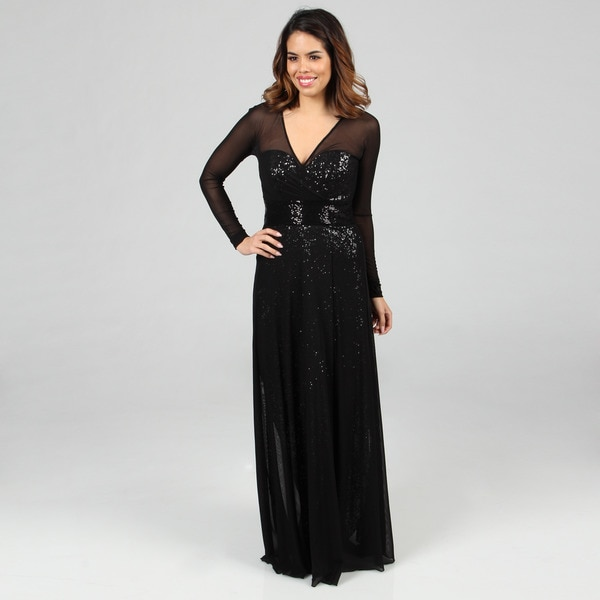 Vicky Tiel Women's Sequined Long Sleeved Evening Gown