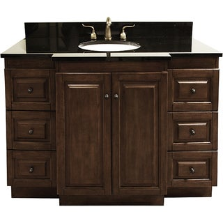 Shop Granite Top 48 Inch Single Sink Bathroom Vanity With Antique Brass Hardware Free Shipping