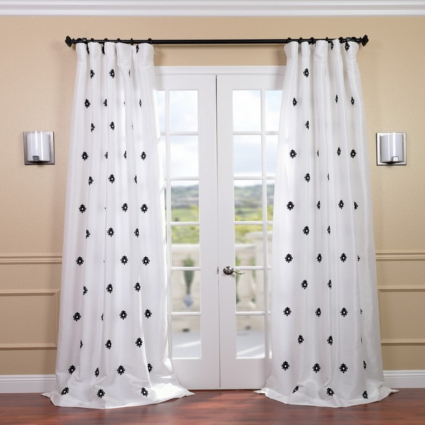 Exclusive Fabrics Mirror White Embroidered Faux Silk 96-inch Curtain Panel