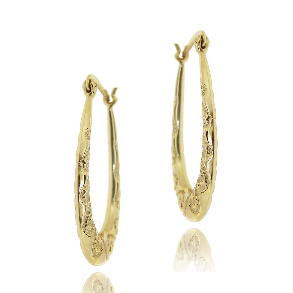 Mondevio 18k Gold Over Sterling Silver Oval Twist Design Hoop Earrings