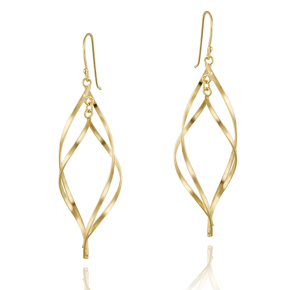 Mondevio 18k Gold over Sterling Silver Twisted Swirl Dangle Earrings