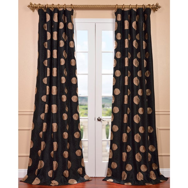 Exclusive Fabrics Zen Garden Black Embroidered Faux Silk 108-inch Curtain Panel