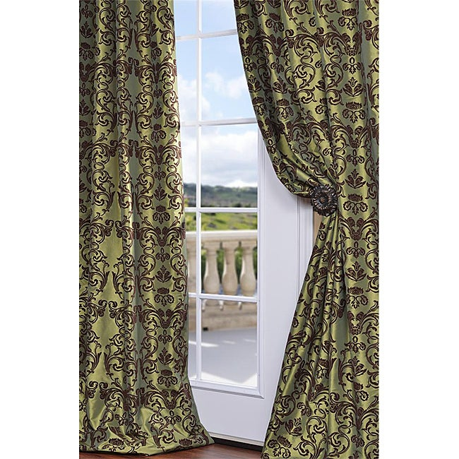 Exclusive Fabrics Flocked Firenze Fern Green Faux Silk 120-inch Curtain Panel