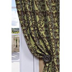 Exclusive Fabrics Flocked Firenze Fern Green Faux Silk 120-inch Curtain Panel - Thumbnail 1
