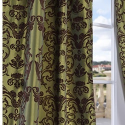 Exclusive Fabrics Flocked Firenze Fern Green Faux Silk 120-inch Curtain Panel - Thumbnail 2