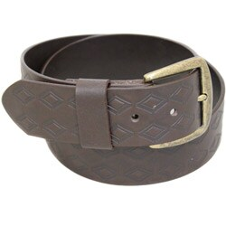 Entourage Men's Embossed Diamond Brown Leather Belt