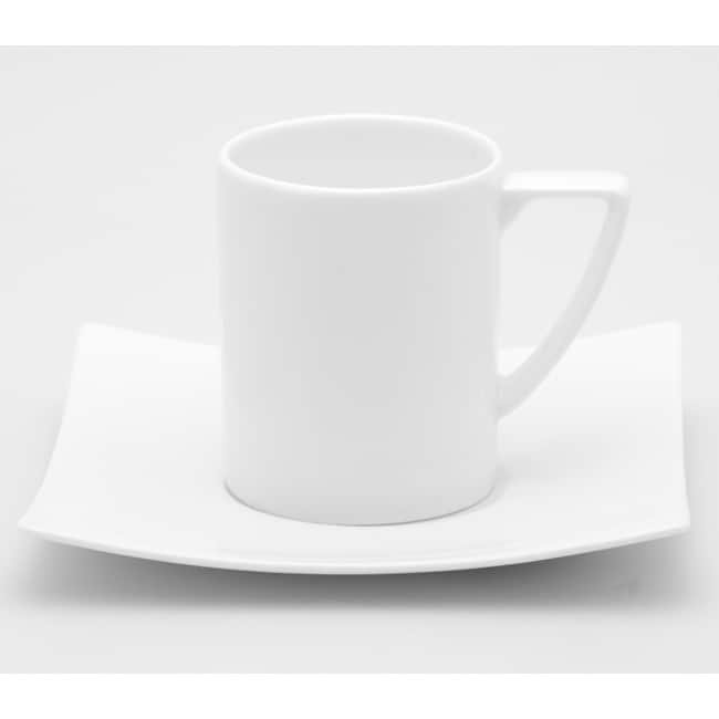 Red Vanilla Extreme White Espresso Cups and Saucers (Set of 6)