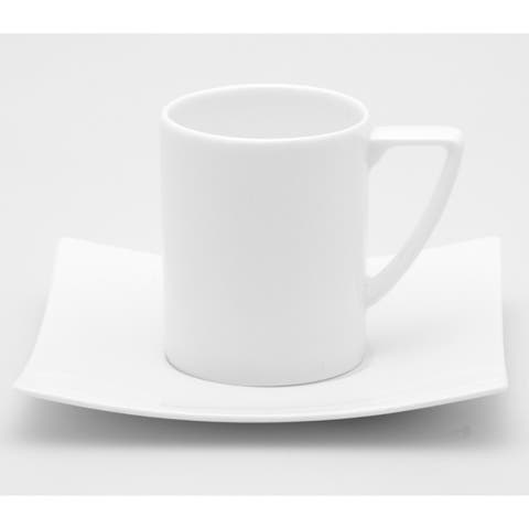 Extreme White Espresso Cup and Saucer (Set of 6)