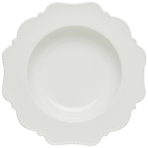 Red Vanilla Pinpoint White Rimmed Soup Bowl Set of 6