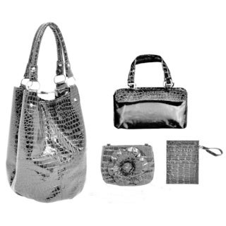 Parinda Women's Adria Croco Embossed Faux Leather Travel Tote Set