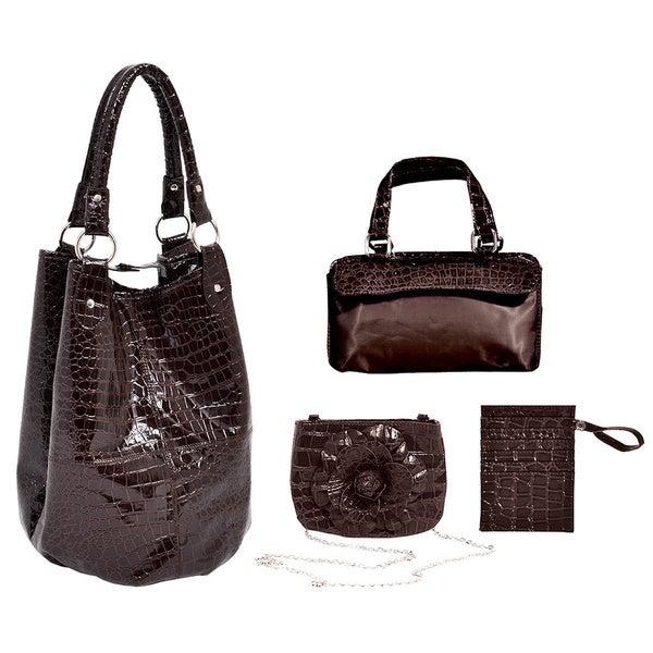 Parinda Women's Leather Travel Tote Set
