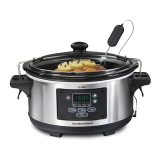 Hamilton Beach Stainless Steel 6 Quart Programmable Slow Cooker with Meat Probe
