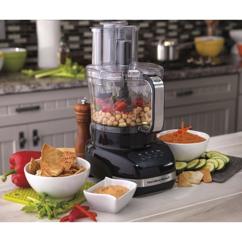 Hamilton Beach Black Stainless Steel Big-mouthed Dual-bowl Food Processor