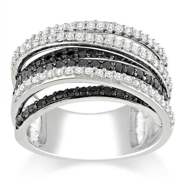 Miadora 10k White Gold 1ct TDW Black and White Diamond Crossover Ring