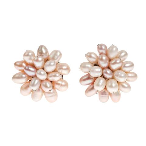 Handmade Pink Pearl Cluster Sweet Earrings (Thailand)