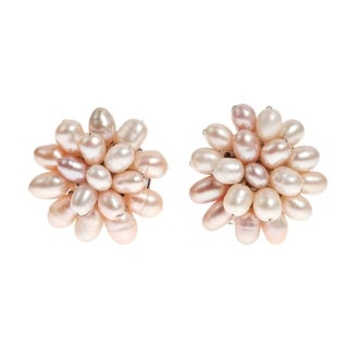 Handmade Pink Pearl Cluster Sweet Clip-on Earrings (5-6 mm) (Thailand)