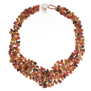 Handmade Brown Limpet Sea Shell and Multi-gemstone Necklace (Philippines)