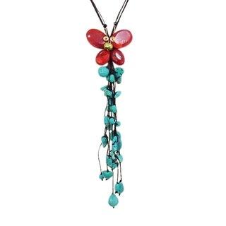 Handmade Copper/ Cotton Butterfly Onyx/ Quartz/ Pearl Necklace (Thailand)